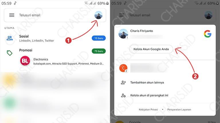 cara mengganti password gmail android