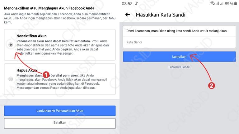 cara menghapus akun facebook android