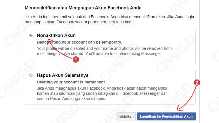 cara menghapus akun facebook di komputer