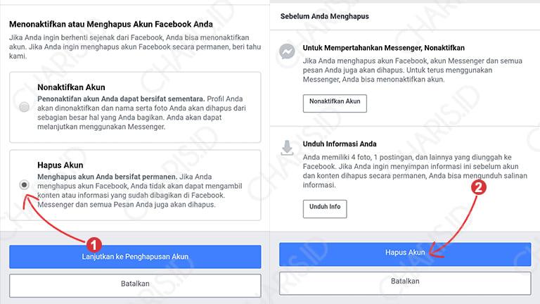 cara menghapus akun facebook permanen di android