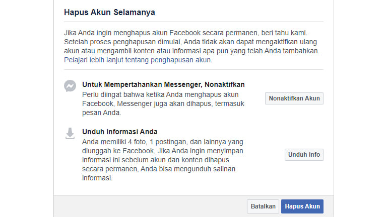 cara menghapus akun facebook permanen