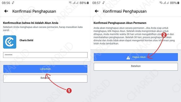 cara menghapus facebook permanen di android