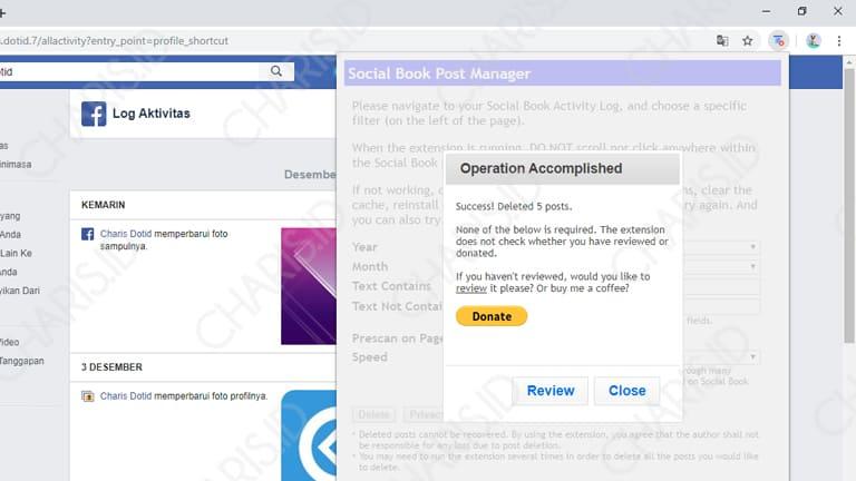 cara menghapus semua status facebook sekaligus