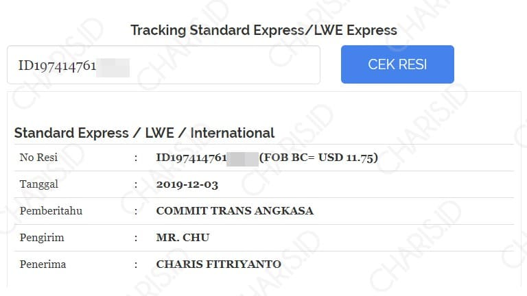 cek resi standard express shopee china