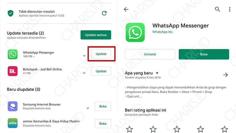 cara memperbarui versi whatsapp