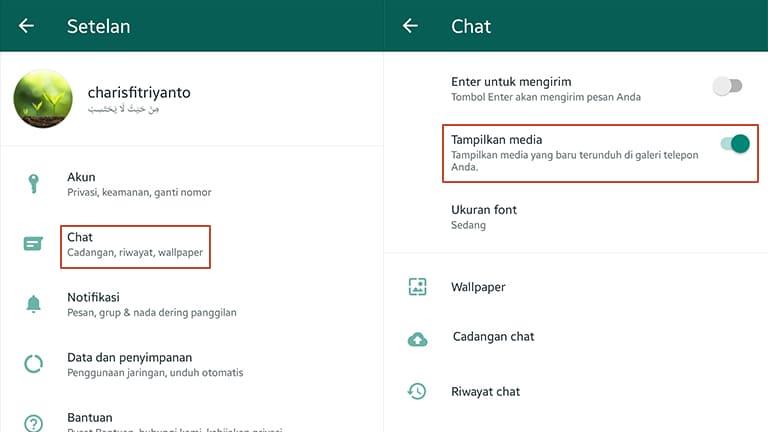 cara menampilkan foto whatsapp di galeri