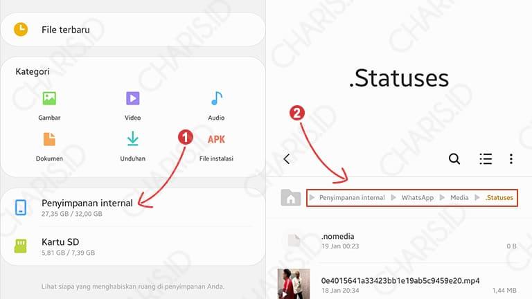 cara menyimpan video dari status wa