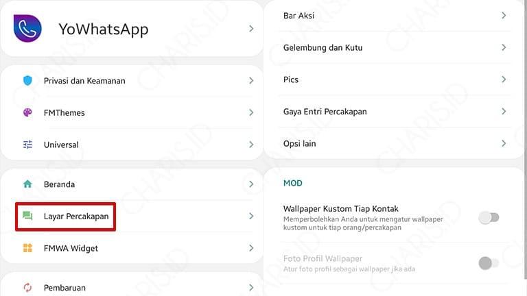 pengaturan chat whatsapp mod