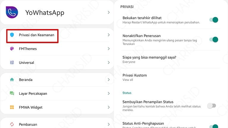 pengaturan privasi whatsapp mod