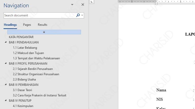 cara membuat daftar isi ms word 2013