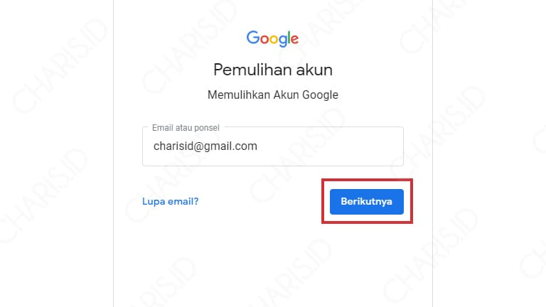 akun google lupa sandi