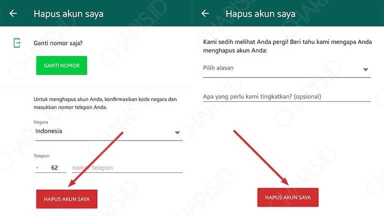 cara menghapus akun whatsapp lewat pc