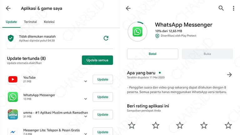 cara update whatsapp