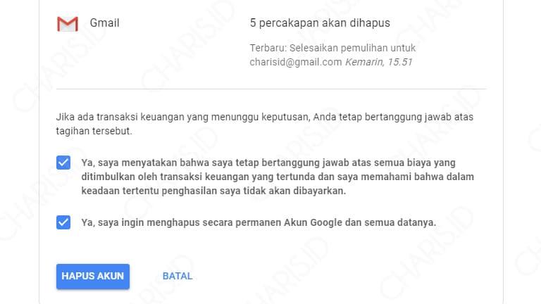 hapus akun google