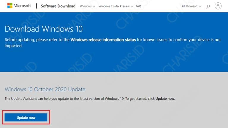 cara windows 10 update
