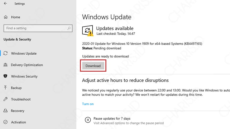 cara windows update windows 10