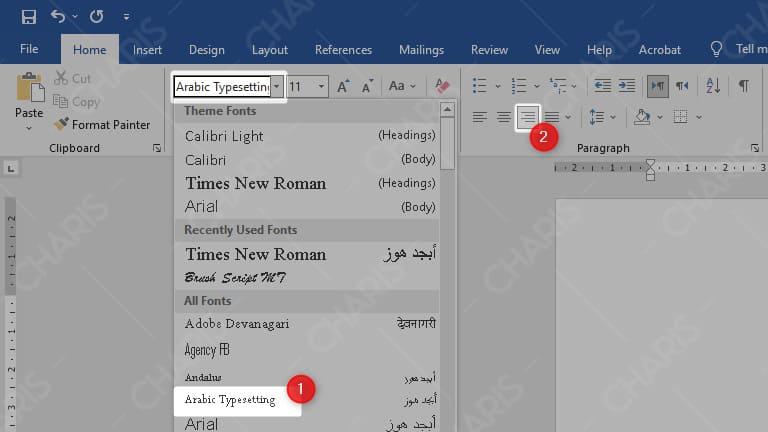 cara membuat tulisan arab di microsoft word