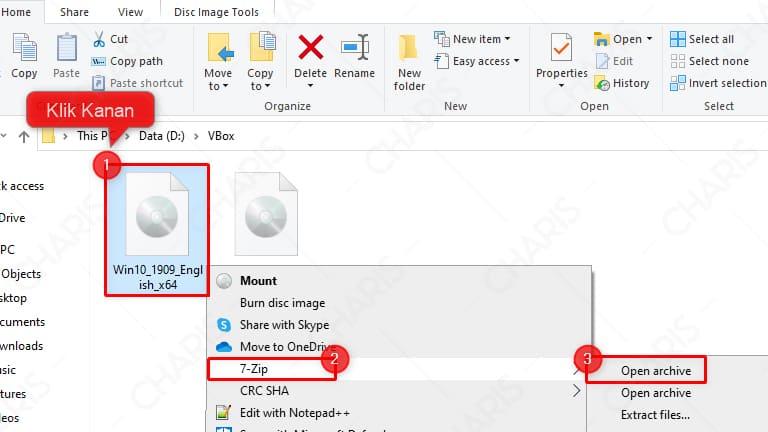 cara membuka file iso dengan 7zip
