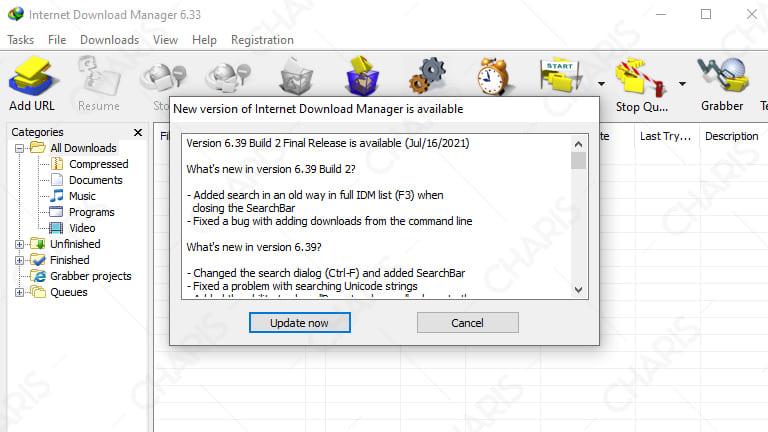 cara mematikan update otomatis idm